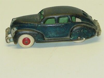 Vintage Arcade Cast Iron Blue Sedan Car, Rubber Wheels, Toy Vehicle
