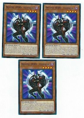 X3 Yugioh Destiny Hero Celestial Lehd-Ena05 Common 1St