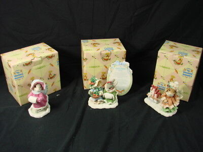 3 Enesco My Blushing Bunnies Figurine Gift Of Friendship Love Will Never Fall