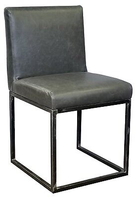Distress Leather Chair with Antique Metal Frame, Black