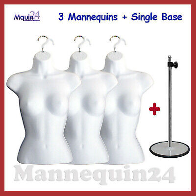 3 Mannequin Female Torsos - Lot of 3 White Dress Forms w/ 3 Hangers + 1 Stand