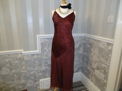 Rust Silk 1920S 1930S Style Art Deco Gatsby Cocktail Dress Gown Size 16 Wedding