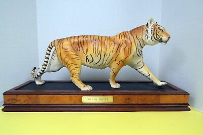 "1988 Franklin Mint 22"" On The Prowl Hand Painted Porcelain Tiger on Wood Base"