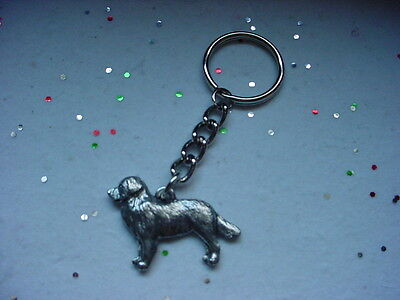 BERNESE MOUNTAIN DOG DETAILED PEWTER Silver KEYCHAIN Key Chain Ring  puppy USA
