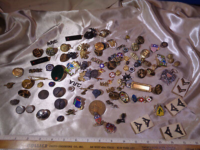Large Military Lot Of Medals & Pins - Age Unknown