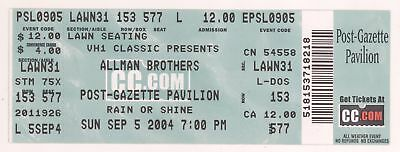 Rare THE ALLMAN BROTHERS 9/5/04 Burgettstown PA Concert Ticket! ABB