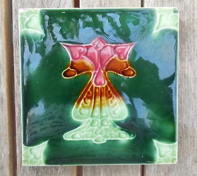 "Antique Art Nouveau T & R Boote Stylised Majolica 6"" X 6"" Tile c1905"