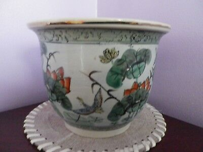 Fab Vintage Chinese Porcelain Lily Pad Design Plant Pot 17 Cms Dia,12.5 Cms Tall