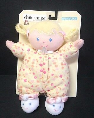 Carters Child of Mine blonde hair cloth doll rattle bunny slippers yellow pink