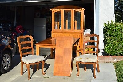 Dining Table and Six Chairs with matching Hutch and China Cabinet