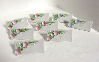 8 Vintage Ceramic Decorated Name Place Card Holders, Raised Flower Design