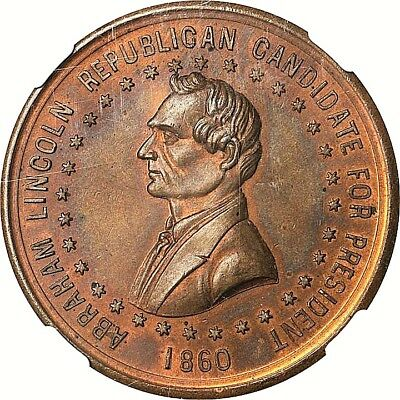 1860 Abraham Lincoln Political Campaign Token Lovett NGC MS66
