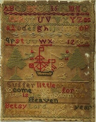Late 19Th Century Sailing Ship, Motif & Alphabet Sampler By Betsy Lord - 1878