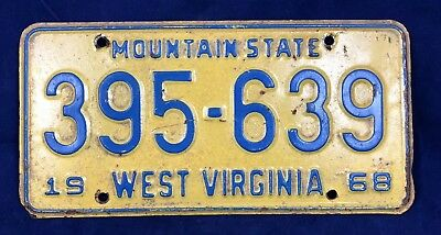 1968 West Virginia Mountain State License Plate Tag 395-639