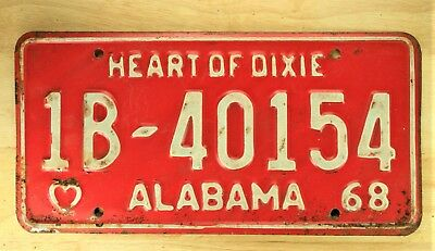 1968 Vintage Alabama Heart Of Dixie License Plate Auto Car Vehicle Tag Item 1088