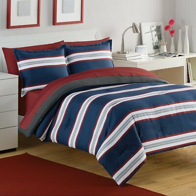 Room Essentials Rugby Stripe Comforter Sunbleached Turquoise Full//Queen NWT