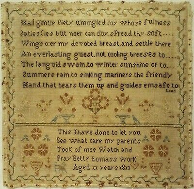Early 19Th Century Verse & Motif Sampler By Betty Lomas Aged 11 - 1811