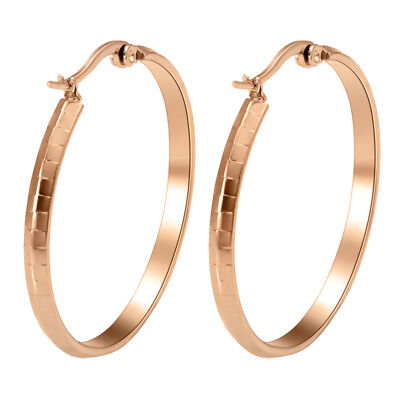 316L Stainless Steel Women Rose Gold Plated Fashion Round Hoop Earrings Jewelry