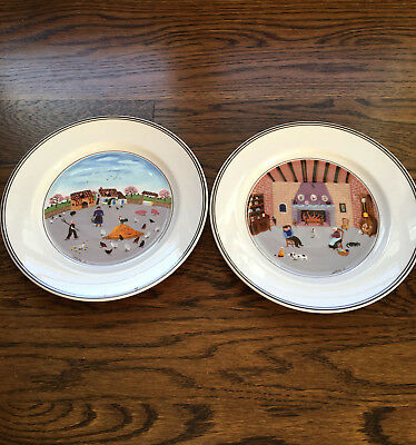 """Set Of 2 Villeroy & Boch Design Naif Salad Plates 8"""" Luxembourg"""