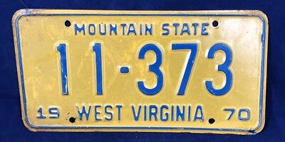 1970 West Virginia Mountain State License Plate Tag 11-373