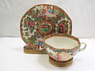 Antique 19th Century Chinese Rose Medallion Porcelain Tea Cup & Saucer, 8 Sided