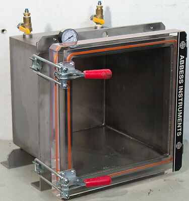 """Abbess Instruments 14"""" Cube 304 Stainless Steel Vacuum Chamber 14"""" x 14"""" x 14"""""""