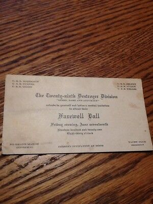 1921 Us Navy Twenty-Ninth Destroyer Division Farewell Ball Ticket