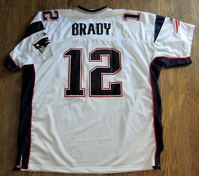 Tom Brady New England Patriots Reebok SEWN Football Jersey White Men s 58 4d57e5ede