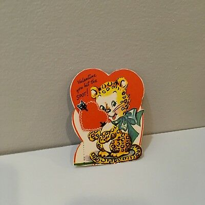 Vtg Valentine Card Cute Baby Leopard You Hit the Spot 40's Unused