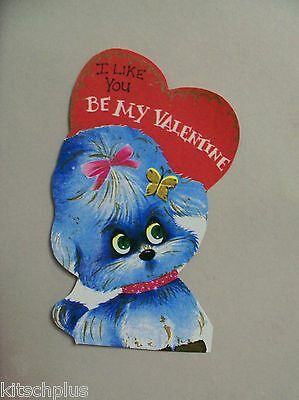 Vtg Valentine Card Big Eyed Eyes Blue Poodle Puppy Dog 70's Mod Groovy UNUSED