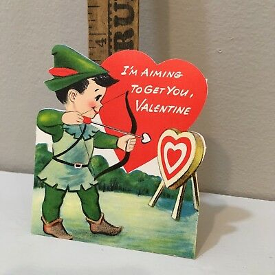 Vtg Valentine Card Little Robin Hood Bow & Arrow Heart Target USED Good Card