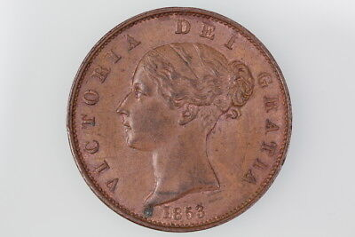 Gb Victoria Halfpenny Coin 1853 S.3949 Extremely Fine