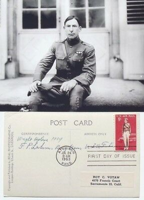 Frank P. Lahm Nations 1st Military Aviator Learned To Fly 1909 Signed Postcard