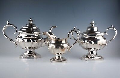 Superb Antique Federal Period Boston JB Jones American Coin Silver Tea Set AAFA