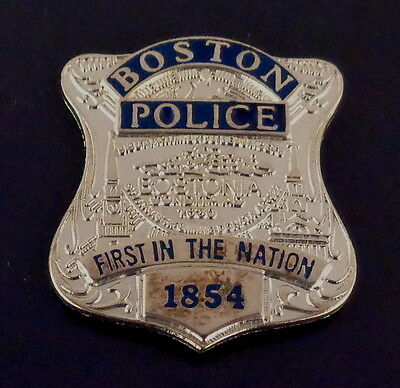 Boston MA Massachusetts Police SILVER Mini Badge Lapel Pin FIRST IN AMERICA 1854