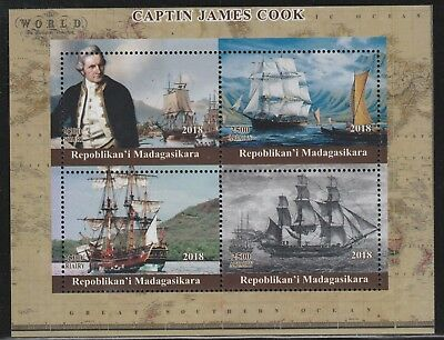 Madagascar 7751 - 2018  CAPTAIN COOK perf sheet of 4 unmounted mint
