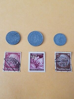 Authentic Rare German WW2 Coin and Stamps WORLD WAR 2