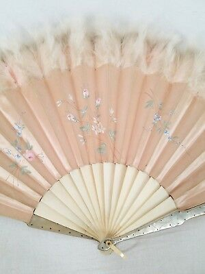 Antique Chinese Pink Silk Folding Hand Fan Flowers & Feathers Metal Guards