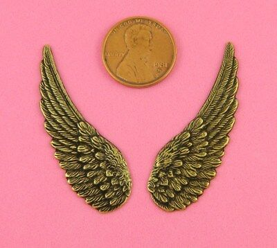 Vintage Design Small Antique Brass Wing Pair - 2 Pcs