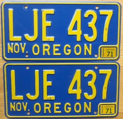 1971 Oregon License Plate Number Tag Pair – NICE PLATES