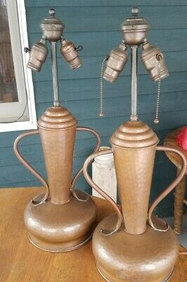 "Pair 1920's Hammered copper lamps arts and crafts period 23"" tall"
