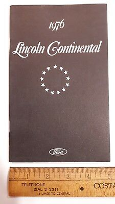 1976 LINCOLN Continental - Original Owner's Manual - Excellent Condition - (US)