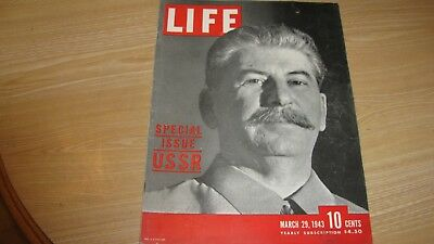 1943 Life Magazine  March 29  Stalin Ussr Issue  High Grade Lowest Price On Ebay