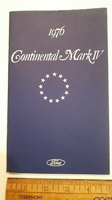 1976 LINCOLN Mark IV - Original Owner's Manual - Excellent Condition - (US)