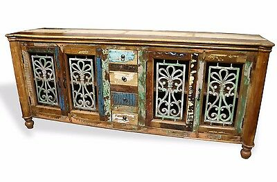 Reclaimed Indian Cabinet Sideboard TV Stand Wood W/ Wrought Iron. Free Shipping!