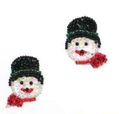 Set of 2 Snowman Appliques Sequin Christmas Decoration Beaded Stocking diy XR387