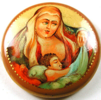 """Vintage Lacquer on Wood Button Madonna & Child  - 1 & 1/4"""" Signed on Back"""