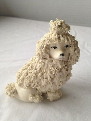 "Adorable Small White Vintage Spaghetti Poodle With Pom Pom-3"" tall with crazing"