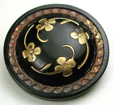 """Vintage Celluloid Button w/ Gold Luster Flower Design & Brass Ring Accent - 1"""""""