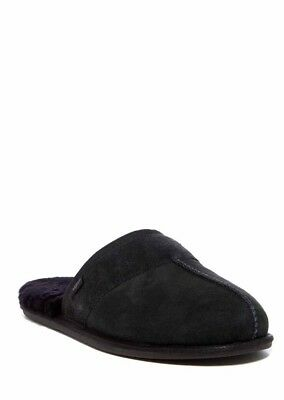 UGG Men's LEISURE Scuff Suede Shearling Slippers Black Men Size  11 New In Box